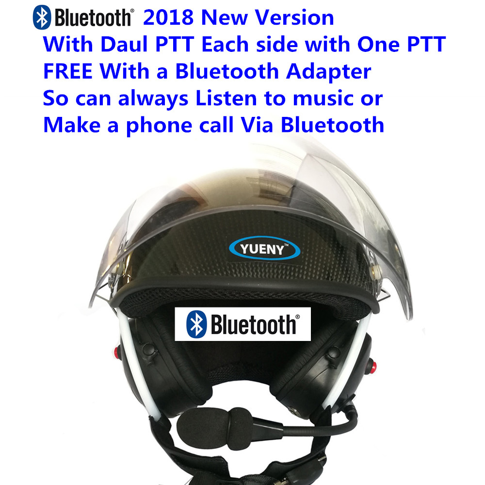2018 New YUENY carbon fiber paramotor helmet with noise canceling headset FREE with BLUETOOTH Adapter powered
