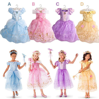 2015 New Girls Cinderella Dresses Children Snow White Princess Dresses Rapunzel Aurora Kids Party Costume Clothes