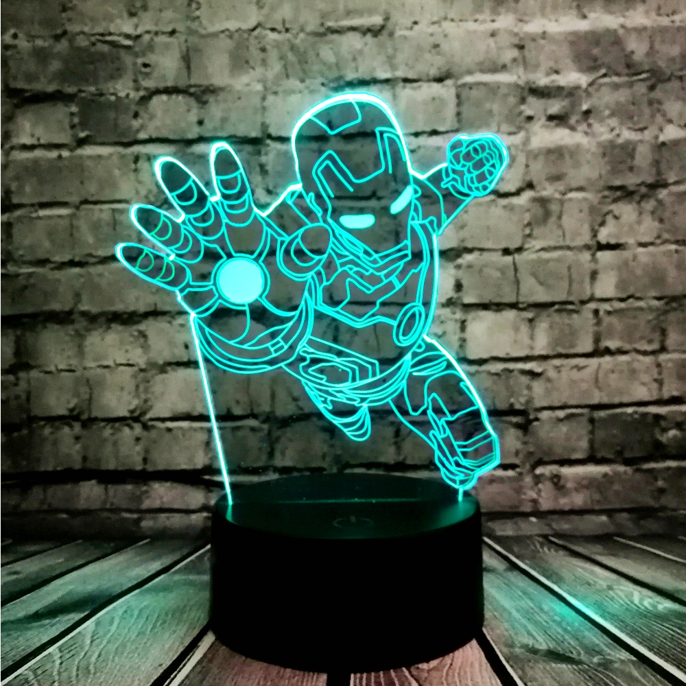 Novelty 3D Night Lighting Superhero Iron Man Action Figure Multicolor LED Lamp Lampada Kid Toy Table Bedroom Bedside Light Gifts