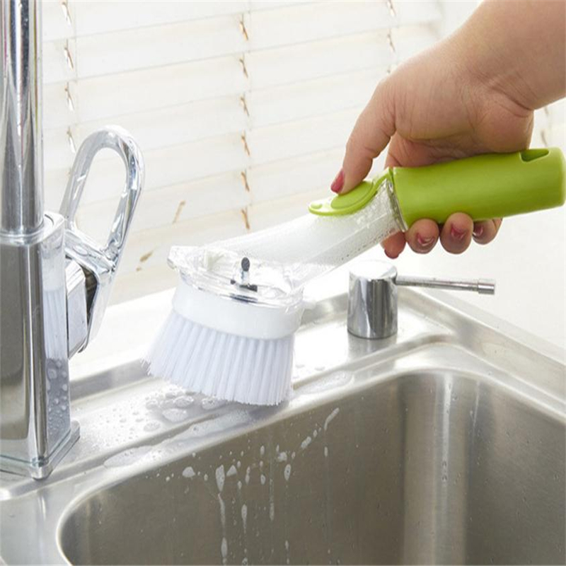 2018 Dish Brush with Washing Up Liquid Soap Dispenser Kitchen Utensil Pot Clean Brush easy to clean Hot Sale C0126