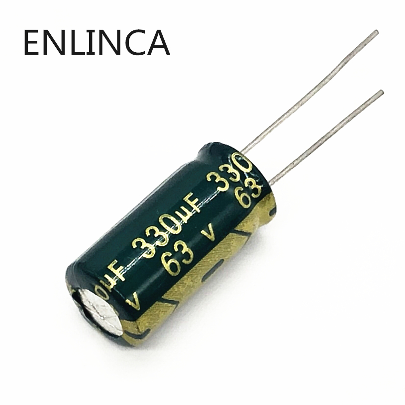 20pcs/lot BC04 High Frequency Low Impedance 63v 330UF Aluminum Electrolytic Capacitor Size 10*20 330UF 20%