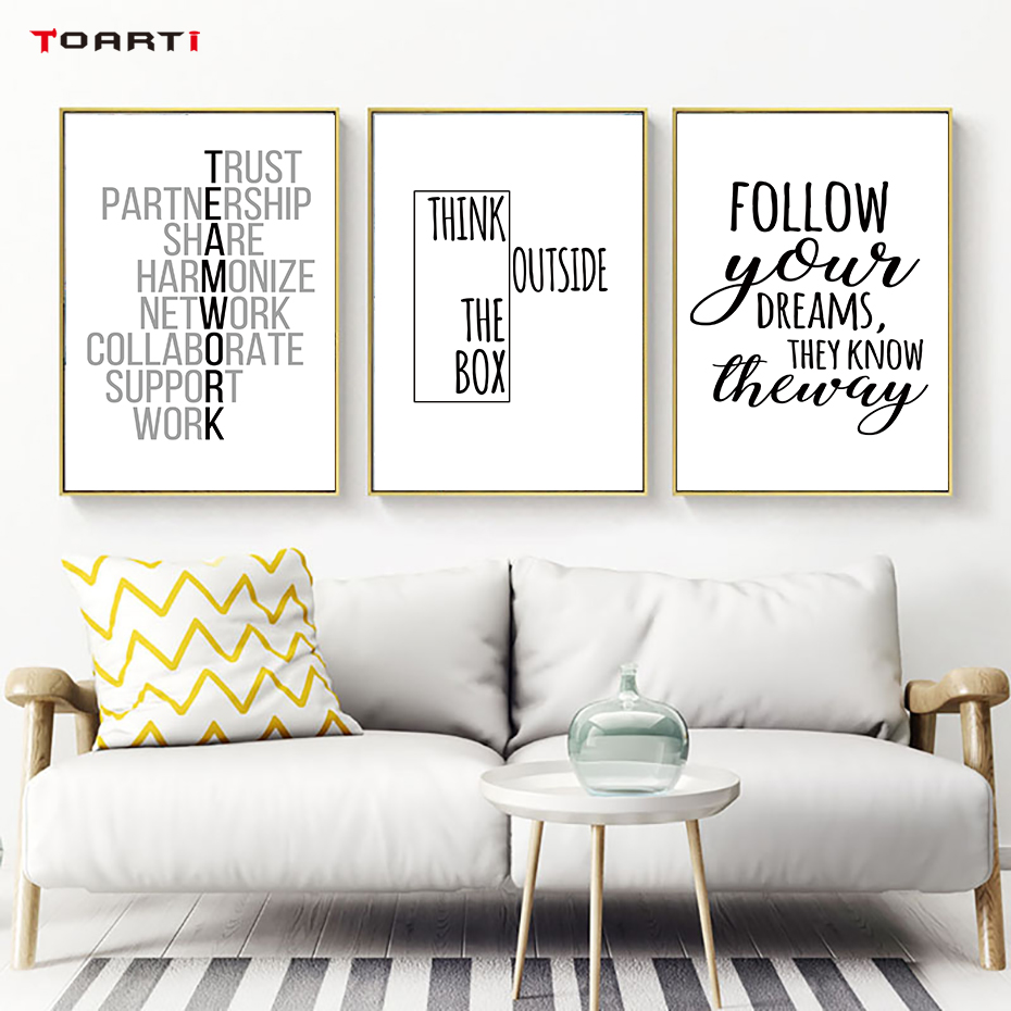 Motivational Quotes print poster Hand Drawn inspirational quote canvas painting office wall art modern home living room decor image