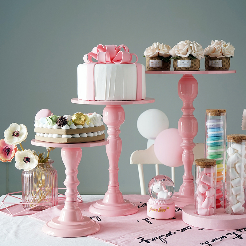 Europe pink cake stand wedding cake table decorating party metal Dessert display stand Cosmetic storage tray