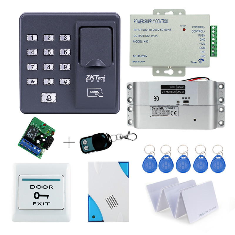 Biometric fingerprint access control X6+electronic drop bolt lock+power supply+exit button+door bell+remote control+key cards