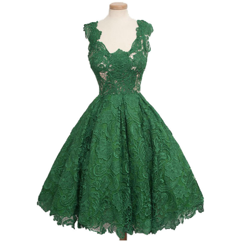 Green 2019 Homecoming Dresses Ball Gown V-neck Cap Sleeves Knee Length Lace Backless Elegant Cocktail Dresses