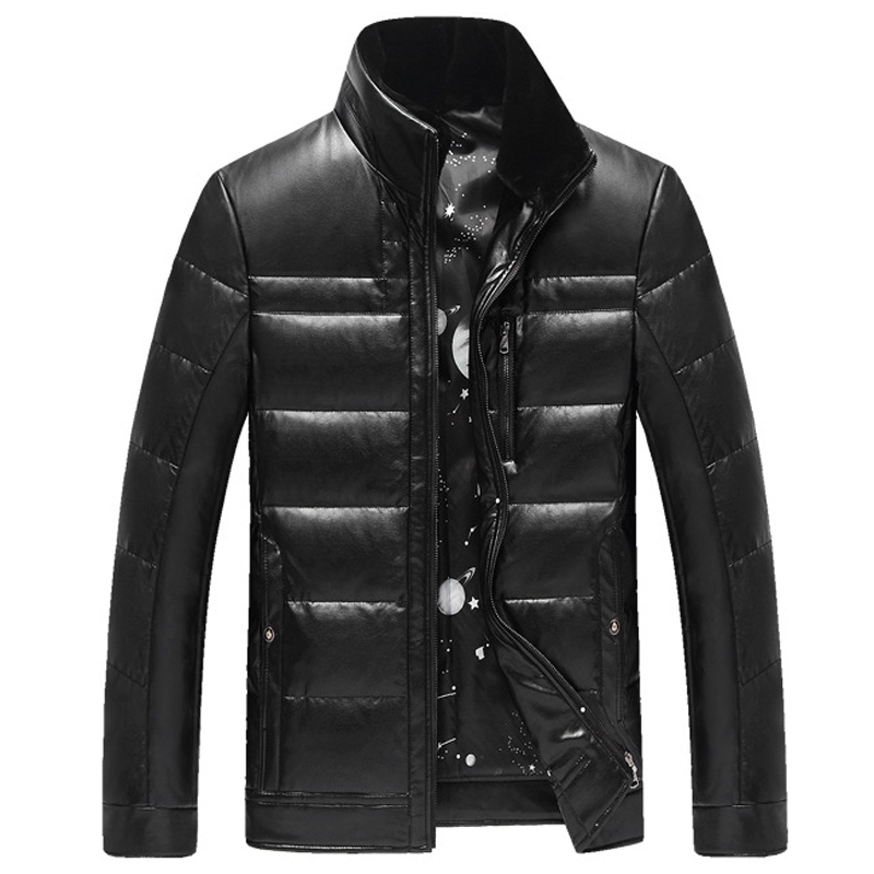 Business Mens Fur Collar Leather Jacket Knitted Men Suit Dress Jacket Winter Warm Bape Clothing Mens Rabbit Fur Collar Coat C229