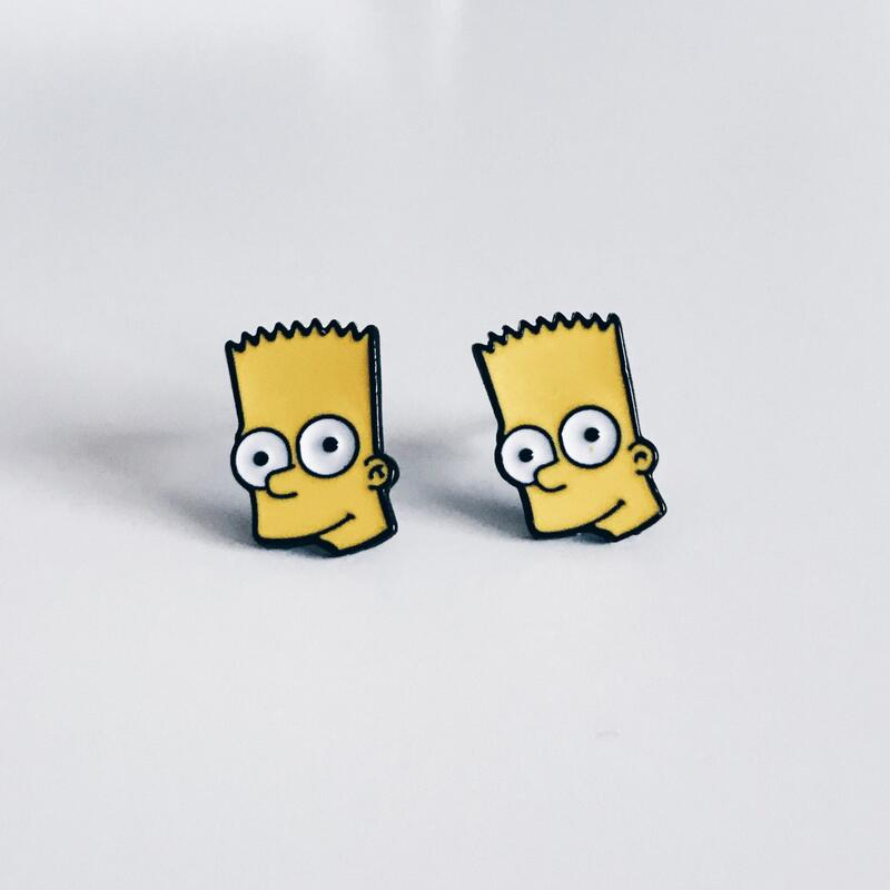 Bart Simpson Enamel Stud Earring,the Colorful Summer Earring for Woman Cartoon Jewelry Cosplay