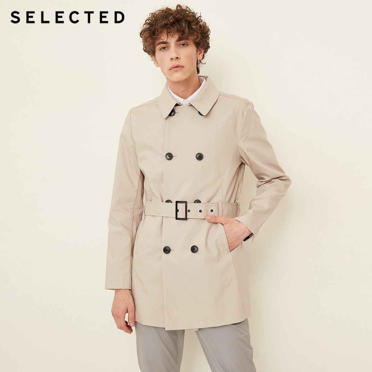 SELECTED New Cotton Double-breasted Windbreaker Fashion Cloak Clothes Lapel Business Long Coat Men's Jacket T | 4183OM502