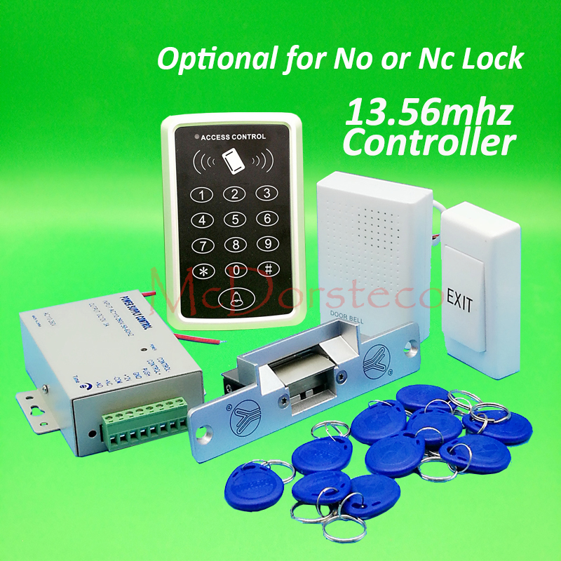 DIY 13.56mhz IC M1 Card Door Access Control kit Full Door Access Kit Yli YS130 No Nc electric strike lock +Power Supply бесплатная доставка diy kit электронные производство lm2902nsr ic операционные усилители gp 1 2 мгц quad 14sop 2902 lm2902 20 шт