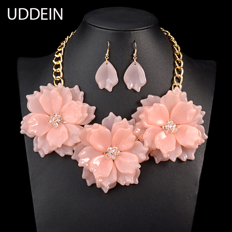 Uddein 2017 Pink Color Flower Necklace Women Party Jewelry