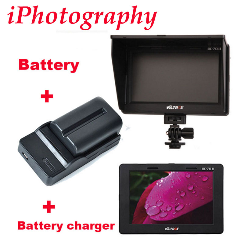 Viltrox 7 DC-70 II clip-on Color TFT LCD Monitor HDMI AV Input 1024*600 per DSLR + NP-FM500H battery + battery charger