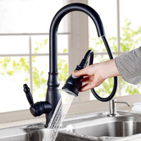 DHL Black Antique Faucet Brass Retro Kitchen Pull Out Sink Mixer Taps Hot And Cold Faucet