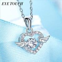 EYE TOUCH Dancing Stone Necklace Women Pendants Austrian Rhinestone Charm S925 Sterling Silver Jewelry Fashion Angel