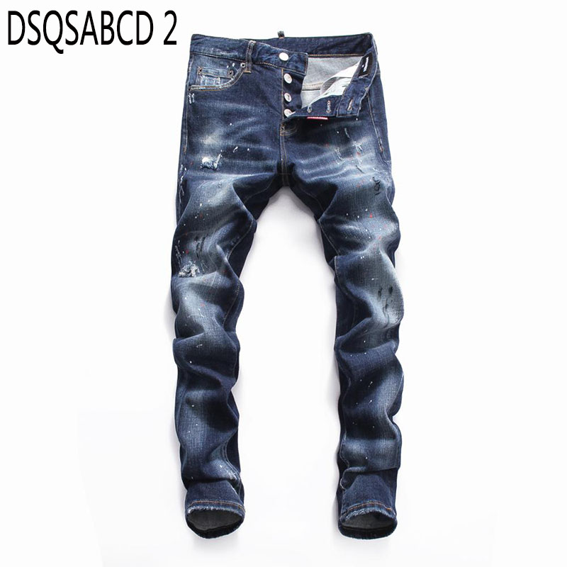 European American Style famous brand   jeans   luxury Men straight denim trousers zipper Patchwork Slim blue hole   jeans   for men 8060