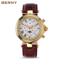 Automatic Luxury Watches Men Famous Brand BERNY Genuine Leather Roman Numbers Watch Men Chronometer Military Mechanical