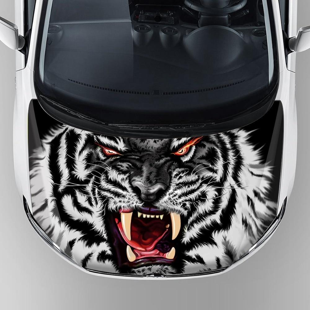 Tête de tigre graphique véhicule de course adhésif décalcomanie accessoires de décoration de voiture capot bonnet pvc vinyle wrap papier avec imperméable à l'eau