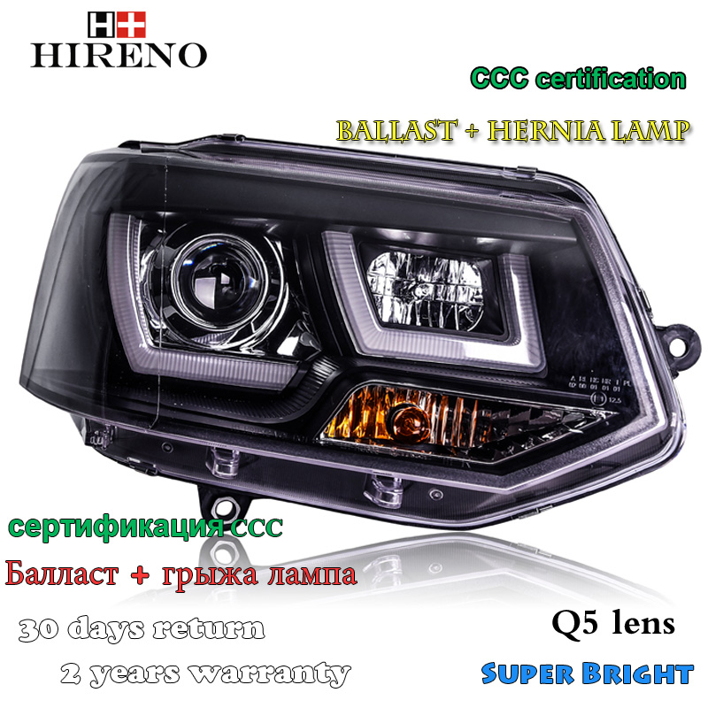 Hireno Headlamp for 2012-2016 Volkswagen Multivan T5 Headlight Assembly LED DRL Angel Lens Double Beam HID Xenon 2pcs hireno headlamp for 2003 2009 toyota land cruiser prado headlight assembly led drl angel lens double beam hid xenon 2pcs