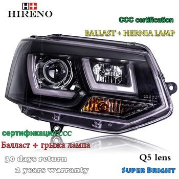 Hireno Headlamp for 2012-2016 Volkswagen Multivan T5 Headlight Assembly LED DRL Angel Lens Double Beam HID Xenon 2pcs