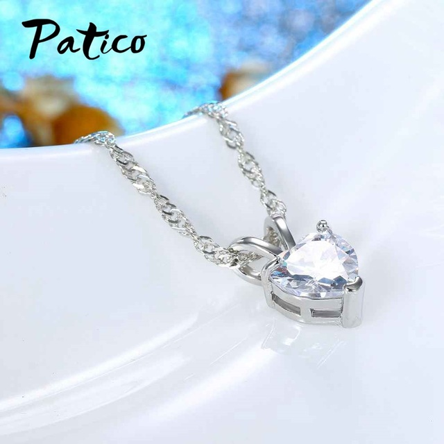 PATICO Romantic Heart CZ Pendant Necklace For Women Ladies 925 Sterling Silver 18 2
