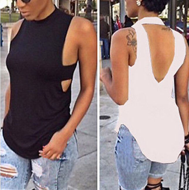 Women Summer Sexy Tank Top Backless Bandage V Back Loose Casual Cotton Sleeveless Vest Tops Blusas Female Black White Tee