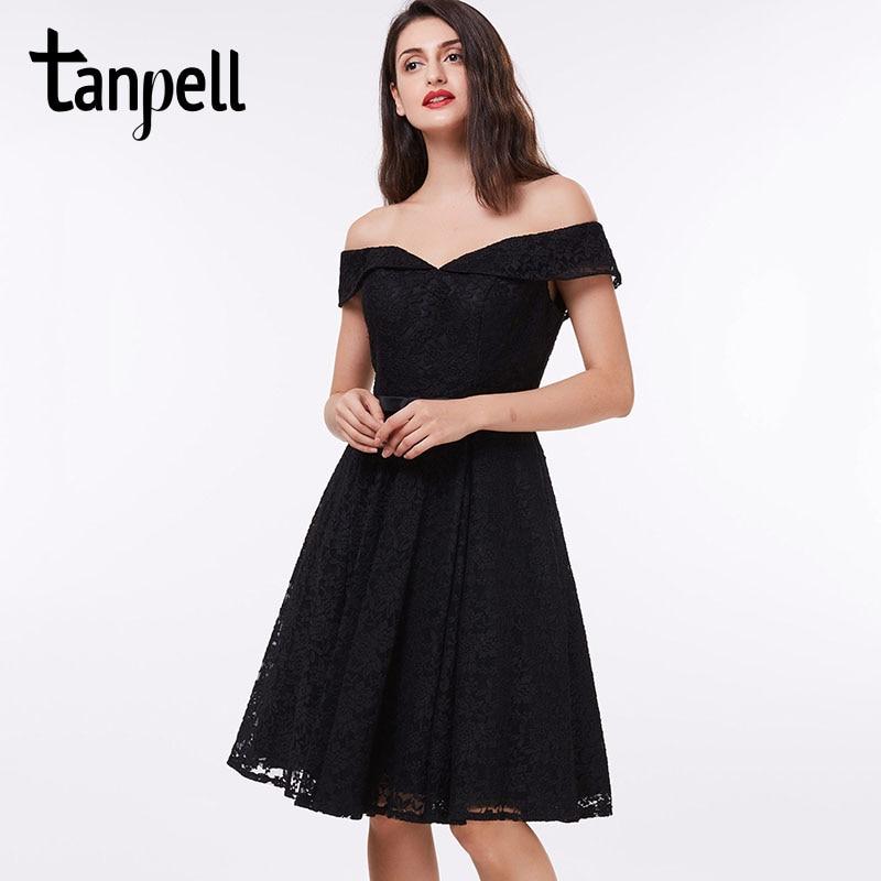 Off the Shoulder Black Lace Cocktail Dresses