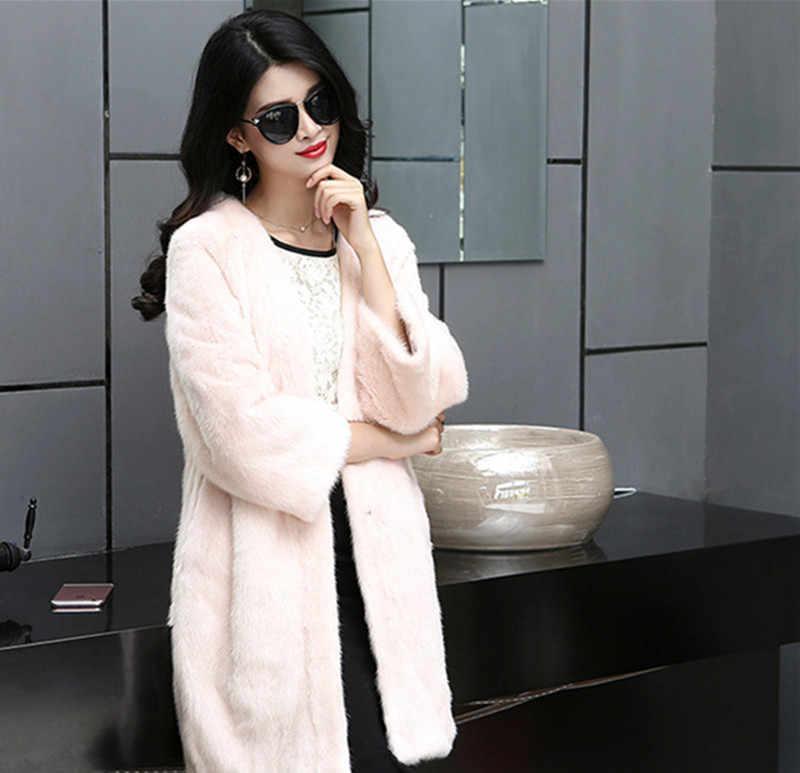 Ayunsue высокая имитация леди норки Мех животных Пальто для будущих мам женские зимние пальто casaco feminino Inverno женские толстый теплый розовый Искусственный мех пальто wxf75