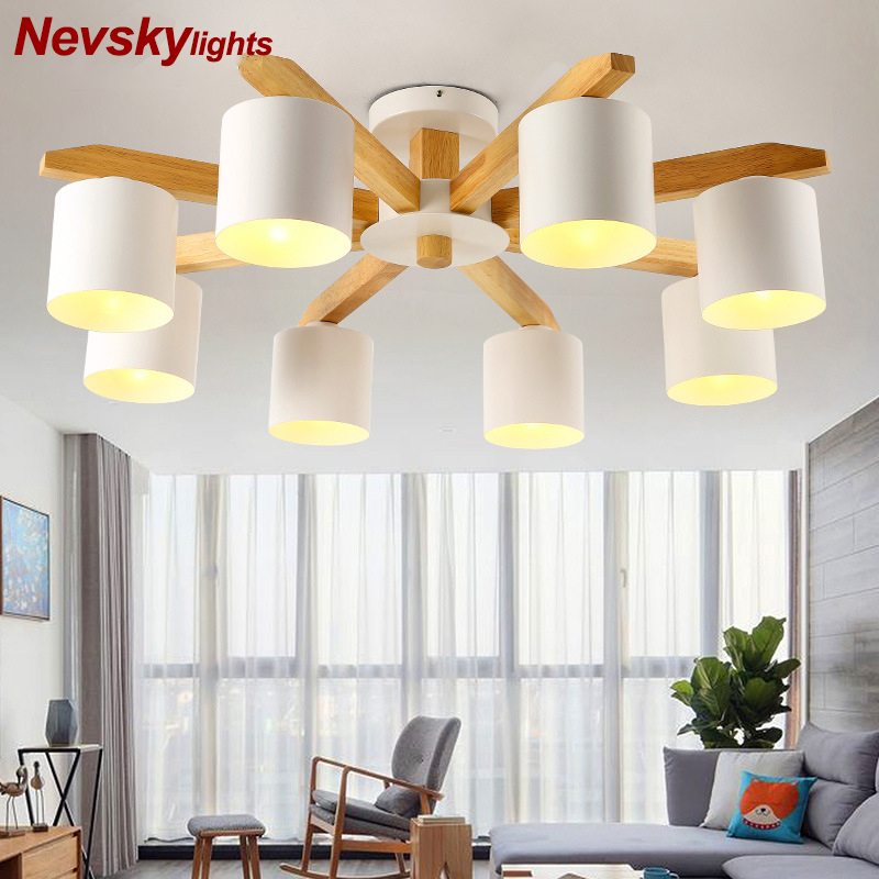 Modern LED Ceiling Lights Iron Lampshade Nordic Ceiling lamp for Living Room Suspendsion Lighting Fixture Wooden