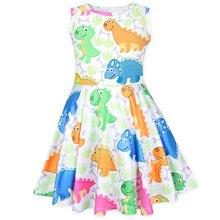 2019 Dresses Summer Baby Girls Sleeveless Ice Silk  Dress Print Dinosaur Lovely Princess Home Wear майка print bar ice princess