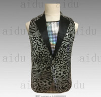 Free shipping leopard/multi color sequined vest stage performance sequins vest