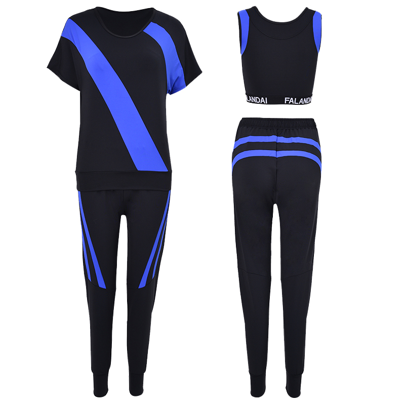 Hot Women Fitness 3 in 1 Yoga Set Blue/White/Gray Patchwork Yoga Bra & Pants Gym Clothes Sport wear Running Outdoor Jogging