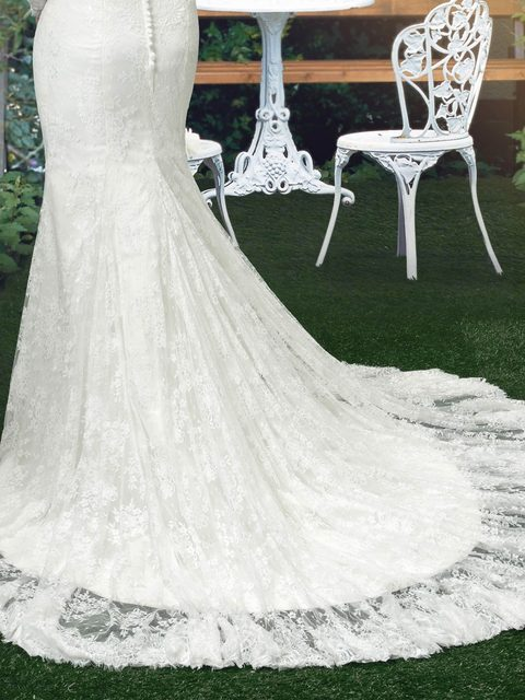 Online Shop DressV White Vintage Mermaid Lace Wedding Dresses ...