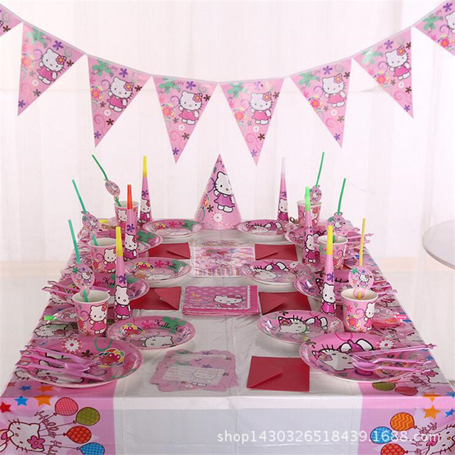 83pcs kids birthday party decoration set first hello kitty - Decoration hello kitty chambre bebe ...
