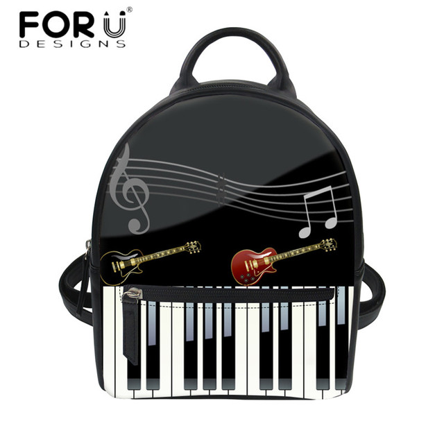 US $18 39 20% OFF|FORUDESIGNS Women Small Backpack 3D Music Piano Keyboard  Print Luxury PU Leather String Shoulder Rucksack for Teen Girls Bagpack-in
