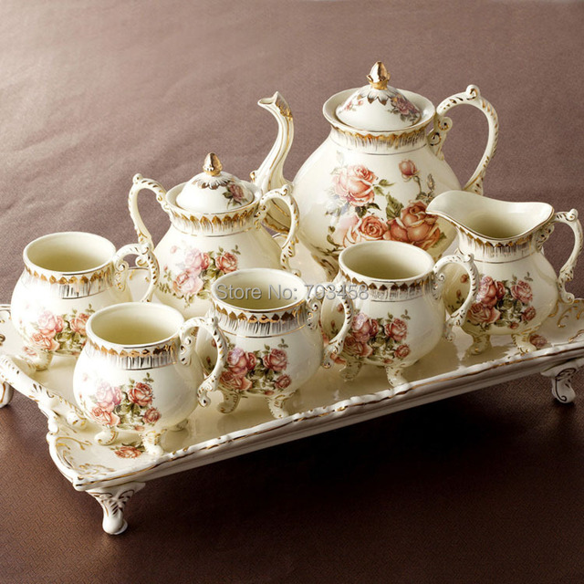 European Gold Ceramic Coffee Set British High Grade Afternoon Tea Wedding Gift Box