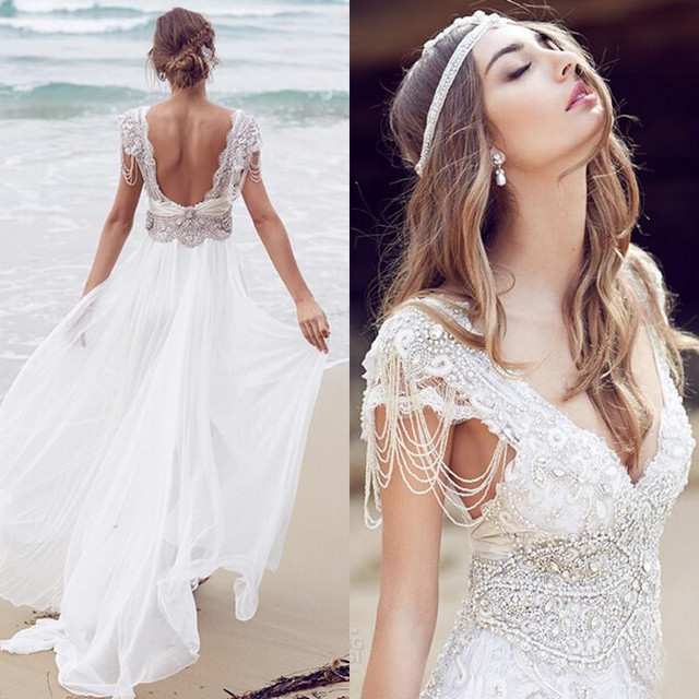 ff05a5c61 2016 exquisita de la boda vestidos Boho Beach vestidos de novia Sexy cuello  en V profundo