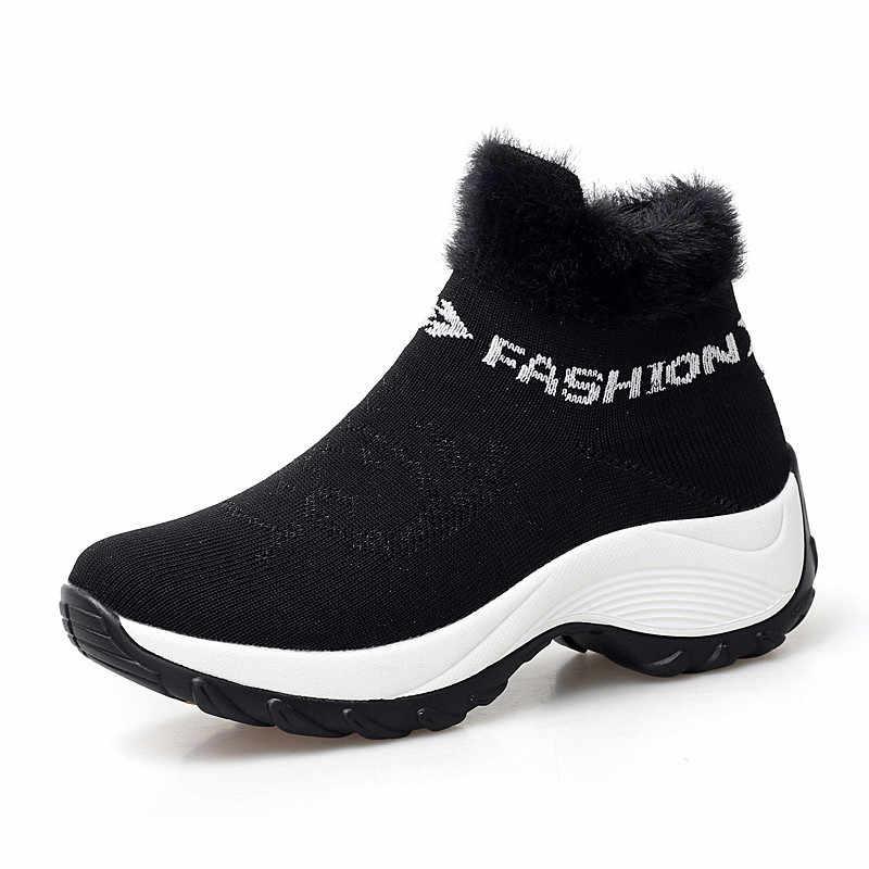 Bộ Sạc Pinsen Mùa Đông 2020 Giày Bốt Nữ Thời Trang Nền Tảng Giày Đế Xuồng Nữ Trơn Ủng Nữ Lông Ấm Áp Mút Giày giày Size Lớn