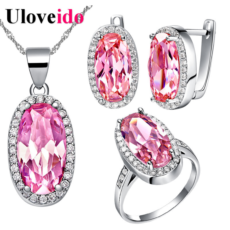 Buy uloveido silver color pink rhinestone for Pink wedding jewelry sets