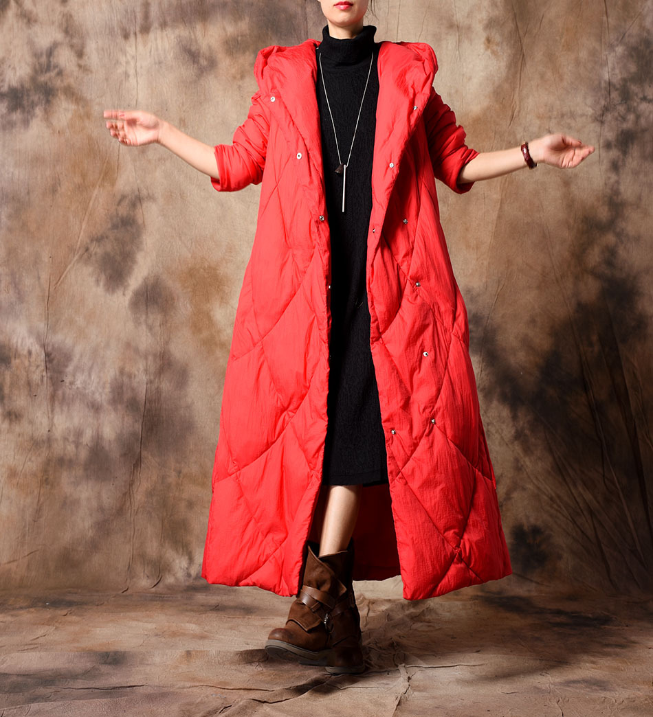 Long rouge Femelle Hiver Dames Femmes Couleur pu Manteau Chaud Pardessus Rembourré Parkas pourpre Rétro 2018 Solide Capuchon À Fashon Noir Ciel Outwear xqtwnwg