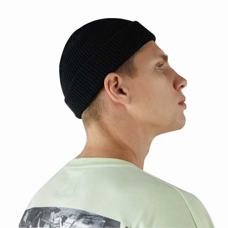 Winter Solid Color Skull Cap Men Women Solid Knitted Skullies Cap Female Male Black Hat(China)