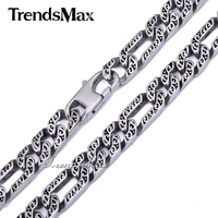 Customize Size 10mm Heavy Figaro Animal Skin Mens Boys Chain Necklace Silver Tone 316L Stainless Steel