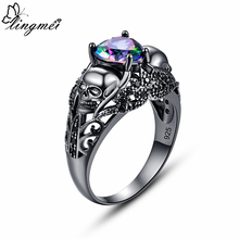 lingmei Wholesale Drop Shipping New Exquisite 925 silver Love Heart Rainbow & Pink Zircon Black Gold Skull Ring Size 6 7 8