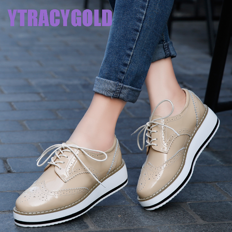 Brand Women Platform Casual Shoes Woman Brogue Patent Leather Flats Lace Up Footwear Female Flat Oxford