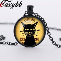 2015 NEW black cat necklace black animal necklace pendant art gift vintage kitty jewelry wholesale CN555
