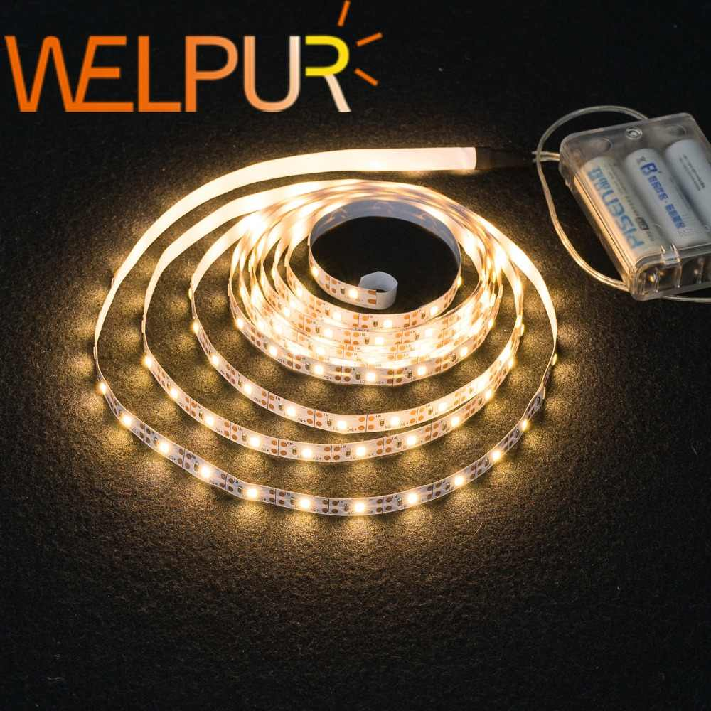3AA Daya Baterai Lampu LED Strip SMD2835 50 CM 1M 2M 3M 4M 5M Fleksibel lampu Ribbon Tape Putih/Warm Strip Lampu Latar