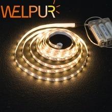 Светодиодная гибкая лента SMD2835 для подсветки, питание от 3 батареек AA, 50 см, 1 м, 2 м, 3 м, 4 м, 5 м, белый/теплый белый свет