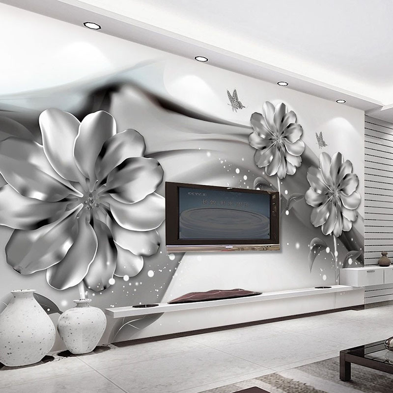 Photo Wallpaper 3D Stereo Abstract Ink Smoke Imitation Metal Flowers 3D Wall Mural Modern Art Living Room TV Sofa Backdrop Decor