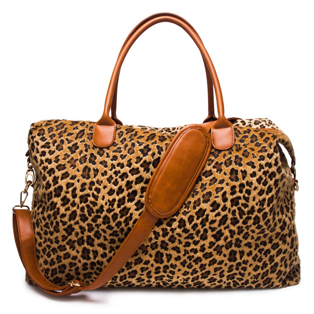 US $2350 0 |Short Fur Leopard Duffle Bag Wholesale Blanks Cheetah Weekender  Bag Polyester PU Overnight Bag DOM1061066-in Top-Handle Bags from Luggage