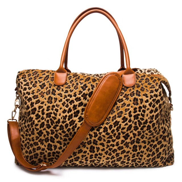 Short Fur Leopard Duffle Bag Whole Blanks Cheetah Weekender Polyester Pu Overnight Dom1061066 In Top Handle Bags From Luggage On