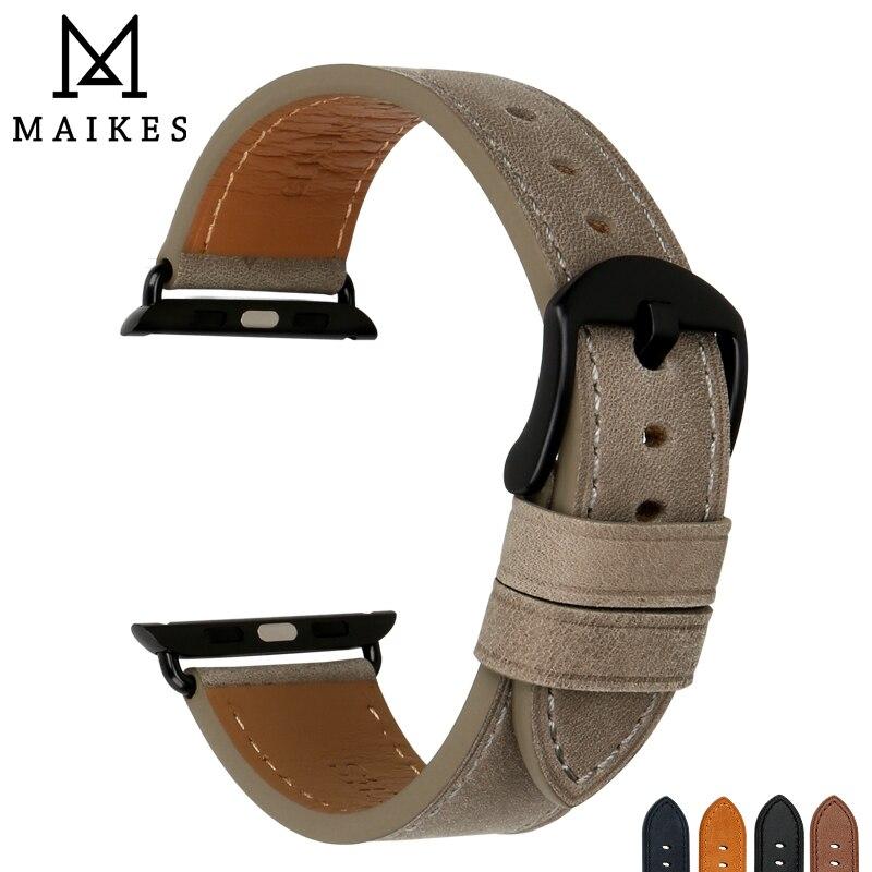 MAIKES Qualité Véritable Vache En Cuir Montre Bracelet Remplacement Pour Apple Montre Bande 44mm 40mm 42mm 38mm série 4 3 2 iWatch Bracelet