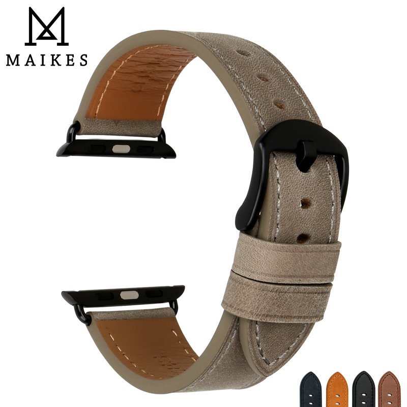 MAIKES Quality Genuine Cow Leather Watch Strap Replacement For Apple Band 44mm 40mm 42mm 38mm Series 4 3 2 iWatch Bracelet
